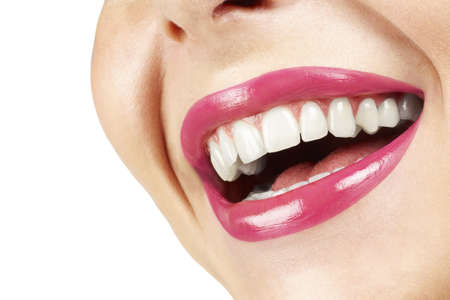girl teeth: Laughing woman with pink lips