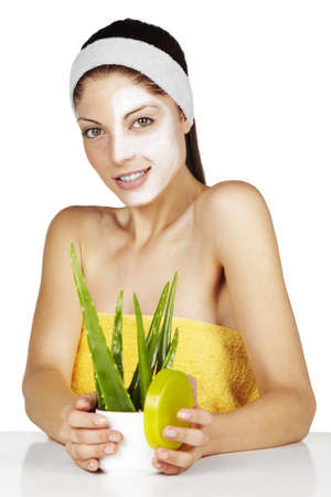 aloe vera background: Close up, woman Stock Photo