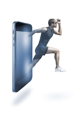 Young man running appearing on smart phone photo
