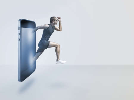 Young man running appearing on smart phone Stock Photo - 17134474