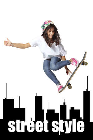 athleticism: Skateboarder woman jumping showing thumbs up