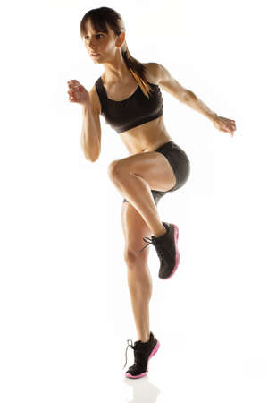 body pump: Beautiful athlete woman doing fitness exercise