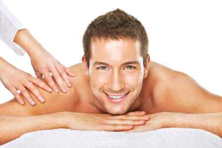health resort treatment: Young man relaxed in spa