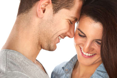 friend hug: Young love couple smiling Stock Photo