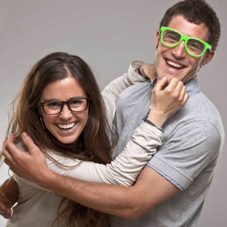 Close up of a young smiling couple photo