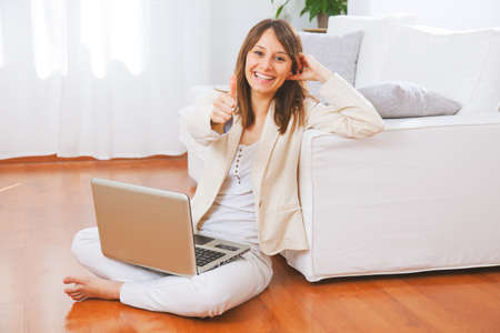 woman looking up: Businesswoman working at home