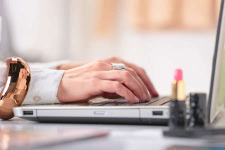 Junge kreative Frau, die Eingabe auf einem Laptop in ihrem Büro Standard-Bild - 23133441