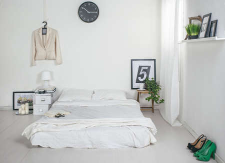 bedroom interior: The white bedroom   Stock Photo