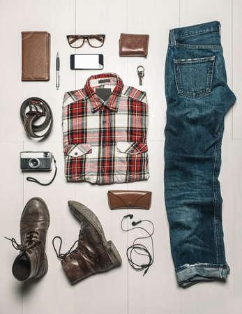 stylish men: Still life of casual man stuff
