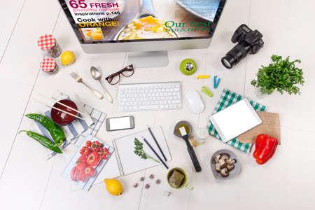 Food blogger werkruimte Stockfoto