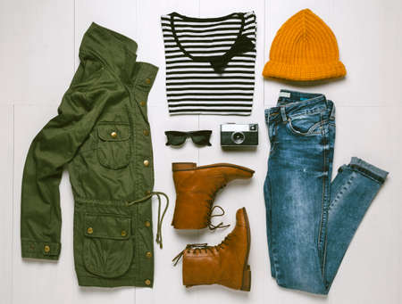 Outfit of hipster woman   Standard-Bild
