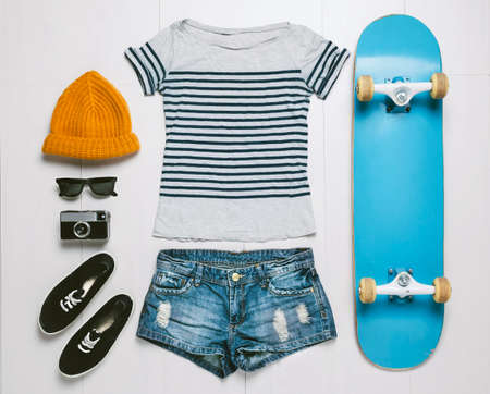 Outfit of skater woman  photo