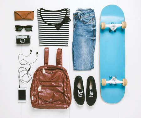 スケーター女性の服 写真素材