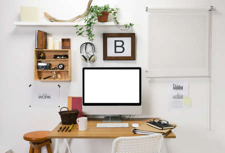 interior window: The office of a creative entrepreneur  Stock Photo