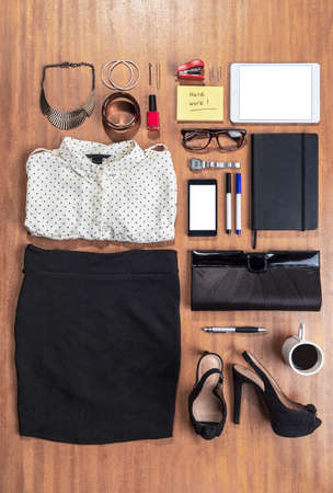 Overhead of essentials elegant woman  Stock Photo