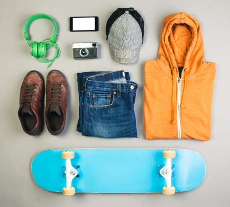 skater boy: Overhead of essentials casual boy  Stock Photo