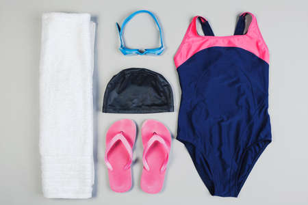 Overhead of swimming essentials  photo