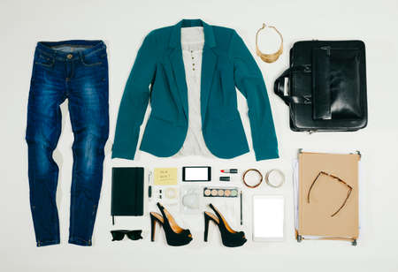 Outfit van kleding en accessoires vrouw Stockfoto