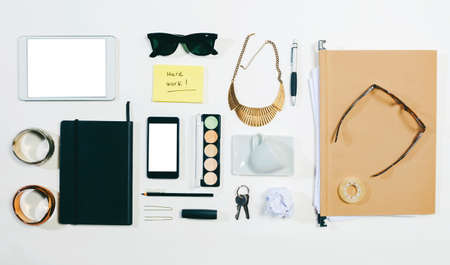 Aerial view of woman essentials at office  photo