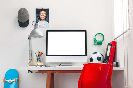 Modern study room for a boy  photo