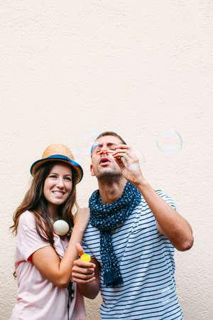 lovely couple: Funny lovely couple  Stock Photo