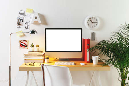 Desk of creative worker.  photo