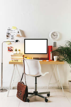 creative communication: Desk of creative worker.  Stock Photo
