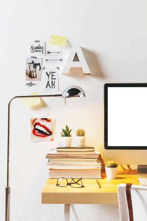 Desk of creative worker.  photo