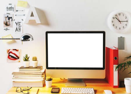 computer monitor: Desk of creative worker.  Stock Photo