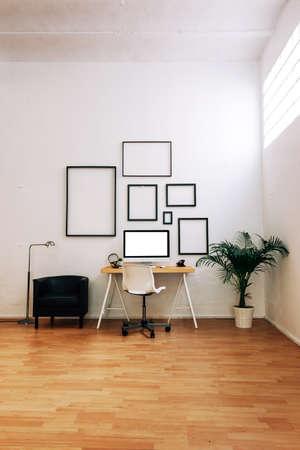 room background: Modern creative workspace.