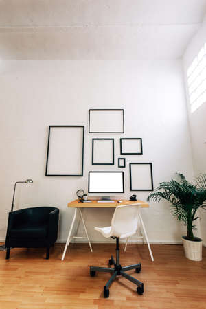 home office desk: Modern creative workspace.