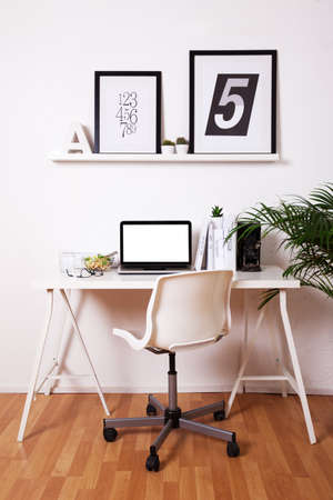 Black and white office at home.