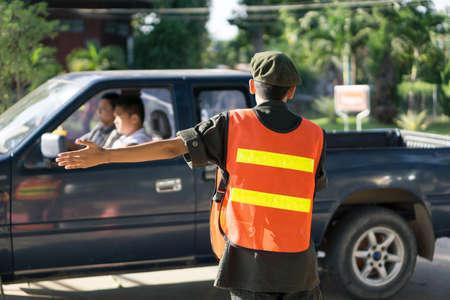 traffic control: Thai military student do traffic control