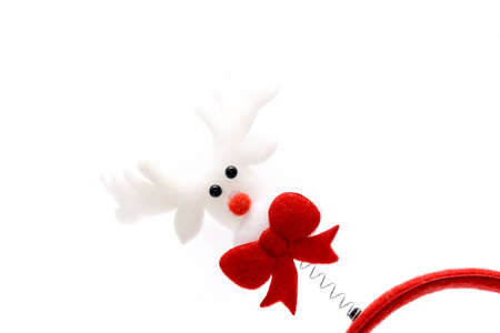 hairband: Red reindeer hairband on white background