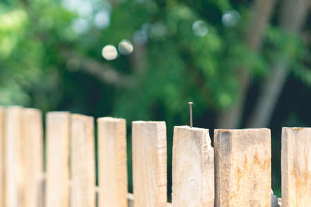 new build: New build wooden fence in Thailand Stock Photo
