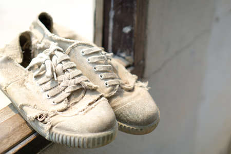 thai student: Old canvas Thai student shoes