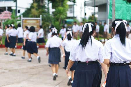 Thai student walk to classroom Stock Photo