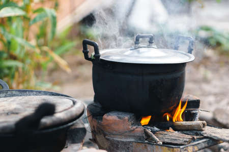 Thai traditional charcoal burning clay stove Stock Photo