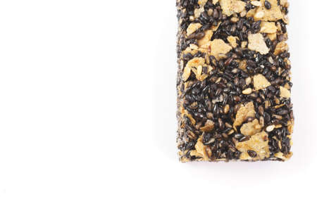 cereal bar: Healthy cereal bar with black sesame on white background Stock Photo