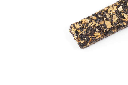 cereal bar: Healthy cereal bar with black sesame on white background Foto de archivo