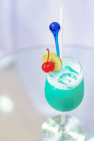 curacao: Classic blue hawaii cocketail with light rum and blue curacao