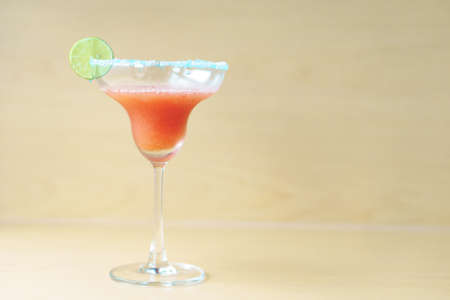 triple: Strawberry margarita tequila cocktail with triple sec