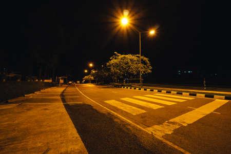 Crosswalk in university at night