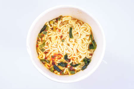 cooked instant noodle: Cooked instant cup noodle on white background