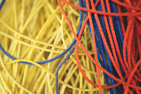 Close up picture of Polypropylene string rope Stock Photo
