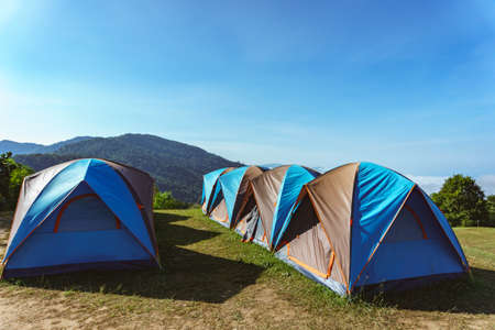 Camping Tent on Mountain in the northern part of Thailand Stock Photo