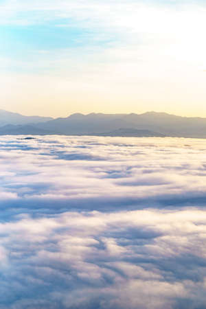 moutains: Morning sky and fog on winter season in Thailand