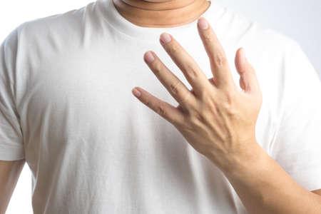 Wedding ring mark on a man hand