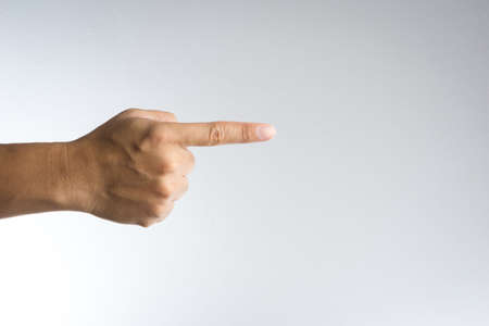 forefinger: index finger pointing on white background