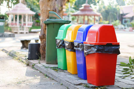Colorful Recycle Bins In Thai school